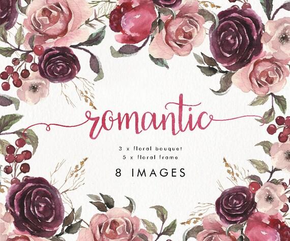 Aquarell Set Von 5 Bilder 3 Blumenstrauss Hochzeit Boho Etsy