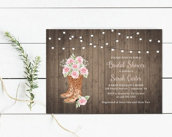 cowboy boots bridal shower invitation country cowgirl western bridal shower invites blush country western wedding shower digital template