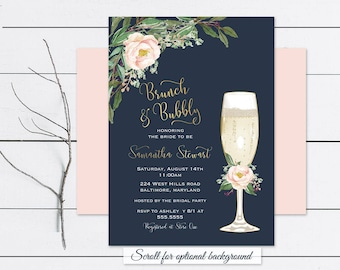 brunch and bubbly bridal shower invitation floral wedding shower boho gold blush wedding shower invite printed or home print template
