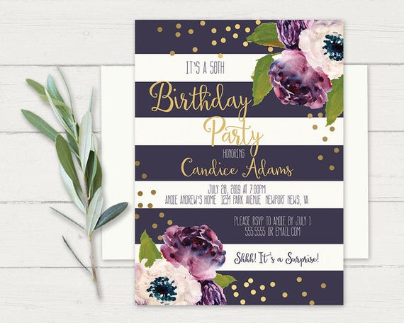 Birthday Party Invitations 50th Birthday Party Womens Floral