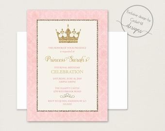 Princess Birthday Invitation Princess Birthday Princess party Invitation Gold Glitter Pink Birthday Invitation Princess Crown Printable
