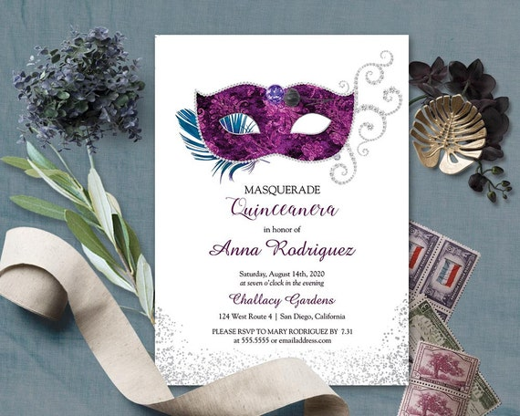 Quinceanera Masquerade Invitation Masquerade Birthday Party Etsy