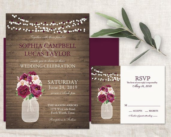Burgundy Floral Wedding Invitation Rustic Purple Mason Jar Wedding Invitations Kit Set Country Wedding Printed Or Diy Printable Template Kit