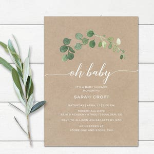 Leaves Kraft Greenery Baby Shower Invitation Suite for Couples or Single.Printable or Printed Forest Green