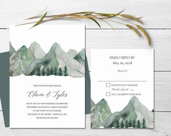 Berg Hochzeitseinladung Bedruckbare Wald Hochzeit Einladungen Etsy