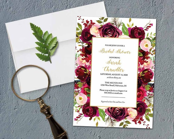 Bridal Shower Invitation Bridal Shower Invitation Template Etsy
