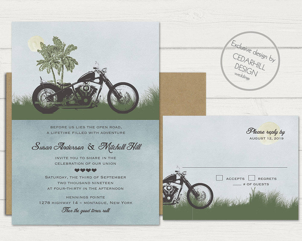 Motorcycle Wedding Invitations Bike Themed Invitation