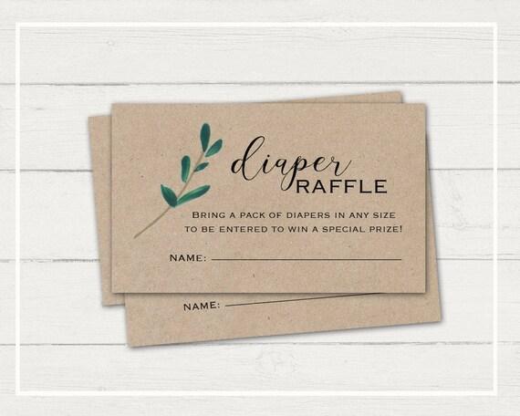 rustic diaper raffle card greenery baby shower kraft paper etsy