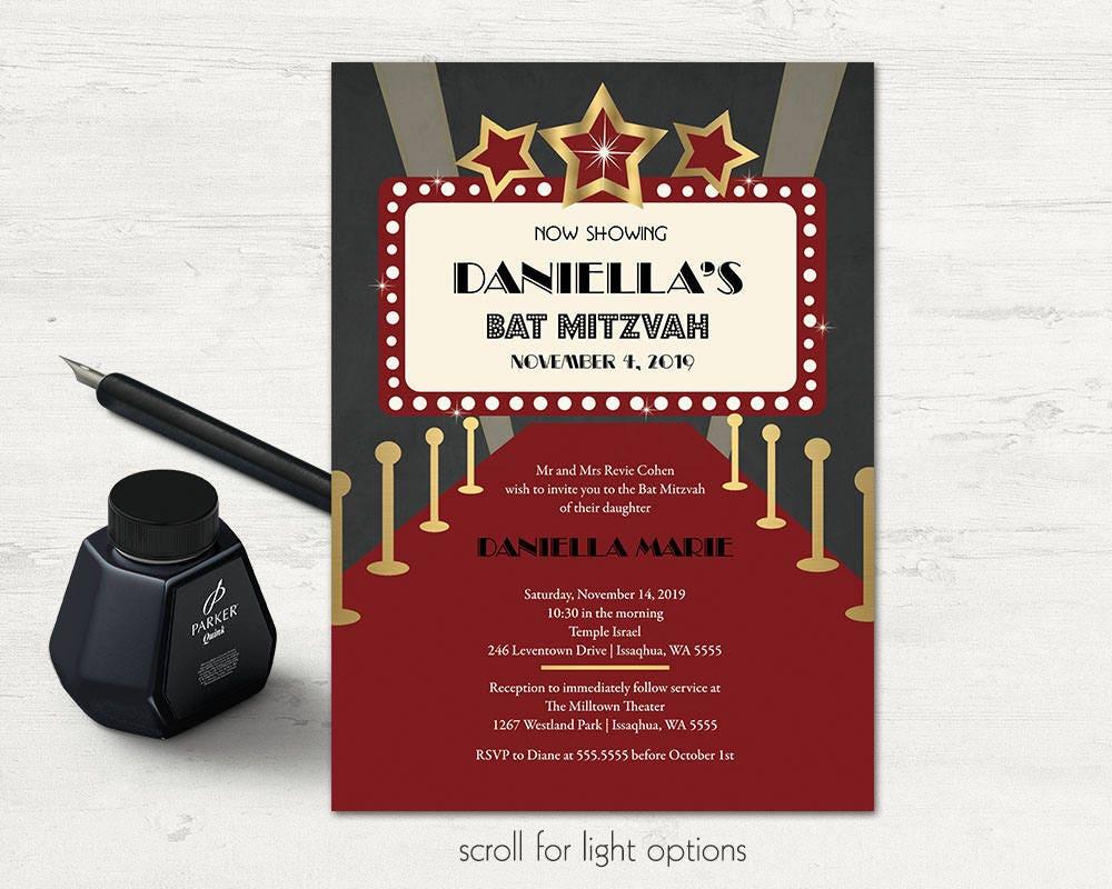 Hollywood Bat Mitzvah Invitations Red Carpet Invitation | Etsy