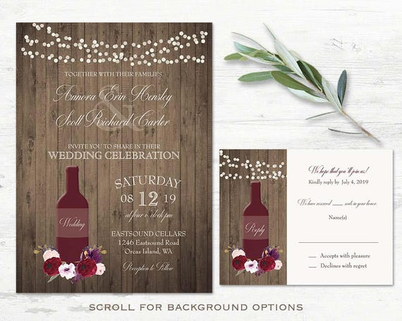 Vineyard Wedding Invitations Suite Wine Wedding Invitations Etsy