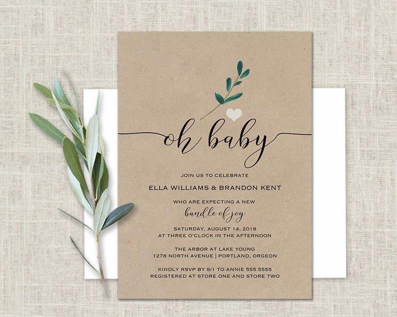 5f71127892b1 Baby Shower Invitation Kraft Paper Greenery Gender Etsy