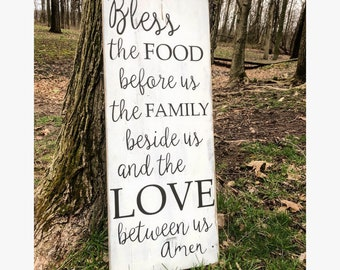 Bless the food before us + the family beside us + and the love between us + Faith + Blessed + Thankful + Rustic wooden Decor + Farmhouse