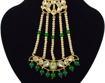 Bridal Design Meena Kundan Gold Plated Party Handmade Jewelry Necklace With Pasa
