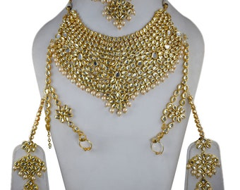 8e3105b7ab9e Indian Meena Kundan Jewelry Pearl Bollywood Bridal Designer Traditional  Wedding Jewellery Gold Plated Set MK 141