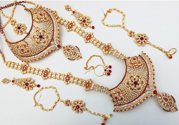 Indian Bollywood Traditional Bridal Set Jewelry Amazing Kundan Etsy