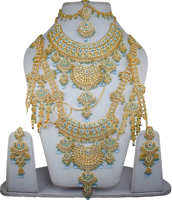Turquoise Wedding Indian Traditional Kundan Jewelry Bollywood Etsy