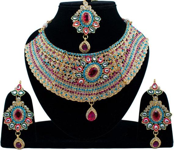 Indian Bridal Traditional Kundan Jewelry CZ Trendy Pretty Kashti Necklace Set With Maangtikka Wine-Purple