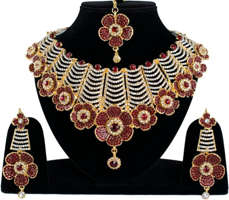 Indian Maroon Big Bridal Traditional Bollywood Wedding Stylish Jewelry CZ 14 Flowers Fabulous Necklace Earrings With Maangtikka Set Maroon
