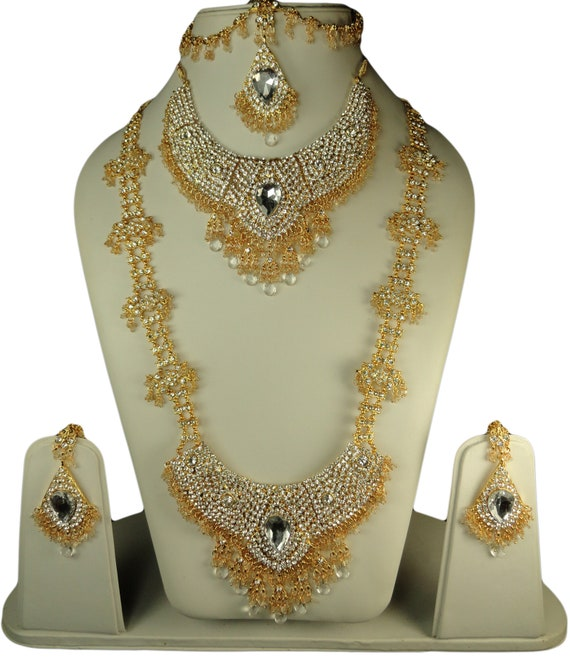 Wedding Bridal Jewelry Cz Set Indian Bollywood Big Stone Etsy