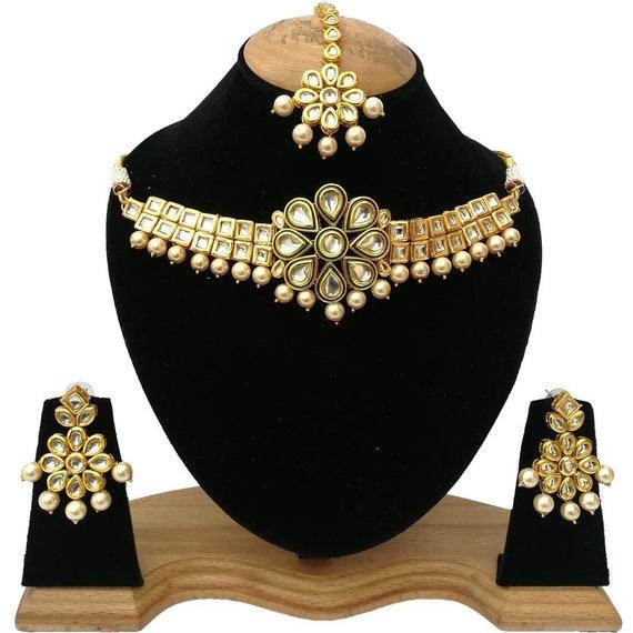 Choker Meena Kundan Bollywood Chick Royal Weddings Meenakari work Designer Indian Jewelry Gold Plated Green Stone Necklace Set