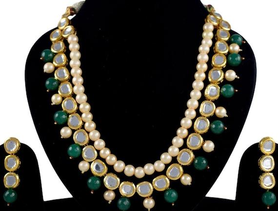 Emerald Green Indian Wedding Party Jewelry Rani Haar Kundan Jewelry Original Meenakari Beautiful Set MK560