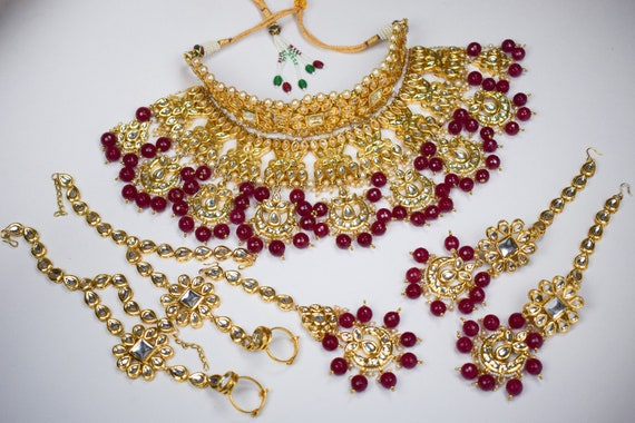 Indian Meena Kundan Jewelry Ruby Stone Bollywood Bridal Designer Traditional Wedding Jewellery Gold Plated Set MK