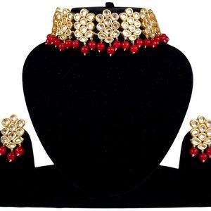 Indian Bridal Jewelry Choker Traditional Meena Kundan Eye Catching Royal Weddings Fashion Gold Plated Party Wear Necklace Set Maroon 105