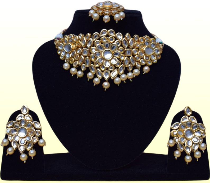 24e66944dc9 Indian Kundan Choker Handmade Engagement & Wedding Jewelry | Etsy