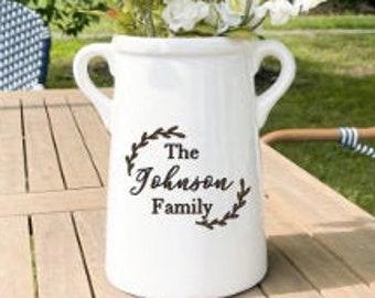 Personalized Ceramic Vase, Milk Can