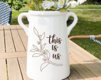 This is Us, Personalized Vase, Ceramic Milk Can, Wedding Gift, Anniversary Gift, Gifts with last name, Vase, Gift for family, Crock