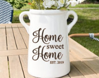 HOME SWEET HOME, farmhouse milk can, gift for new home owners, housewarming gift, ceramic vase, milk jug, Realtors closing gift