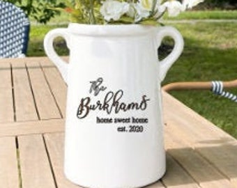 Personalized Ceramic Vase, Milk Can. Wedding Gift for New Homeowners, Closing gift