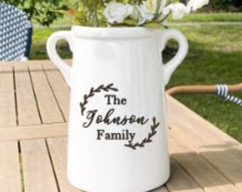 Family Name Decor, Personalized Ceramic Vase, Milk Can, Farmhouse Style Home Decor, Family Gift with last name