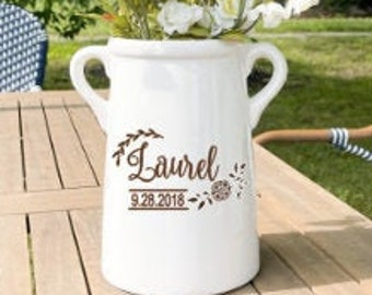 Personalized Vase for Woodland Theme Nursery, Personalized Ceramic Milk Can, Custom Nursery Decor, Floral Wedding Decor, Wedding Centerpiece