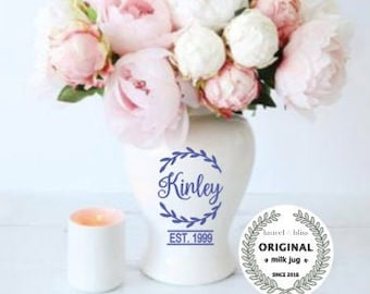 Personalized Ceramic Ginger Jar, Temple Jar, fancy home decor, personalized wedding gifts, Last name gift, flower vase