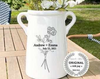 Farmhouse style Milk Can, Personalized Vase, Custom Ceramic Vase, Gift with Last name