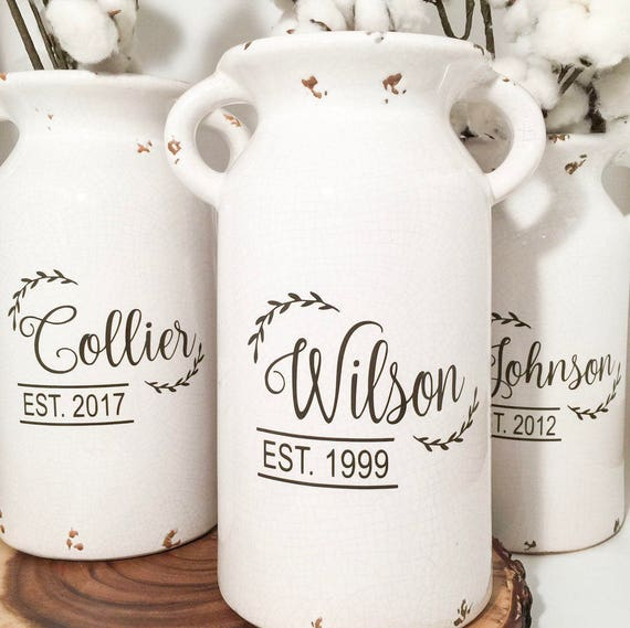 Gifts For A Farmhouse Decor Fan: Wedding Gifts Farmhouse Style Milk Can House Warming Gift