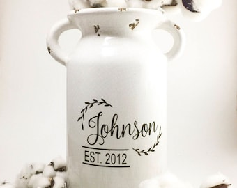 farmhouse style, farmhouse, milk can, house warming gift, home decor, rustic, distressed, personalized gift, living room decor, ceramic