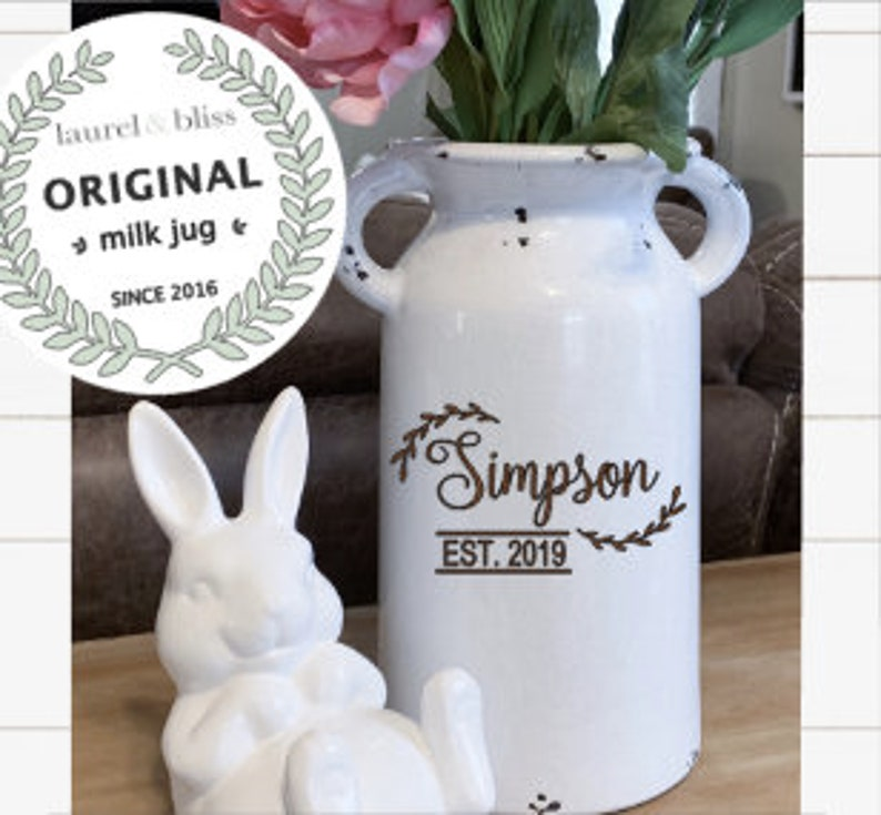 Personalized Milk Can Farmhouse Style Custom Vase for Home image 0