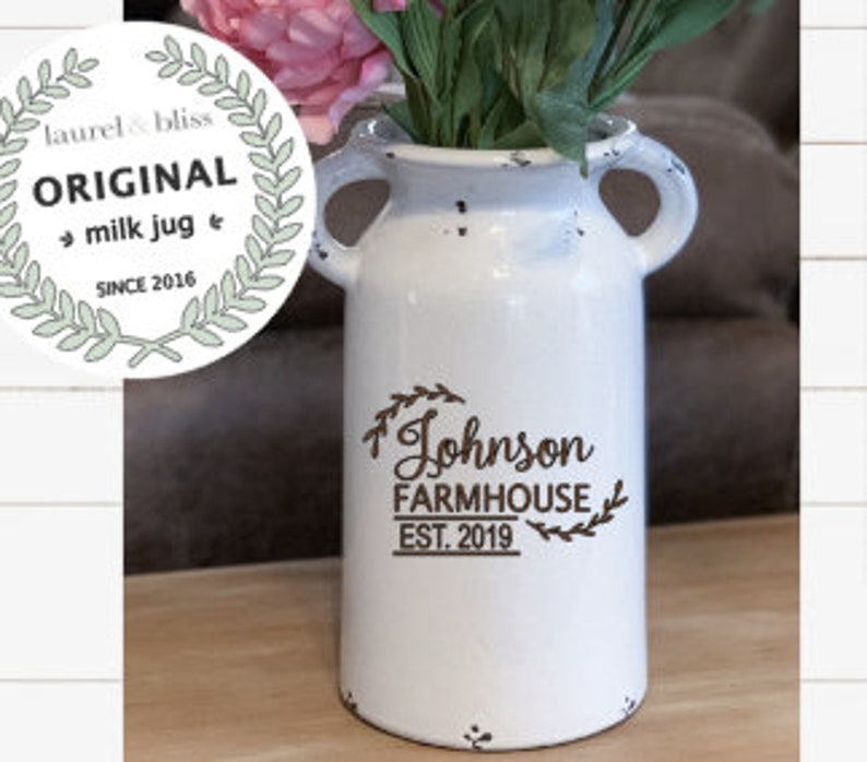 Farmhouse style Milk Can Personalized Ceramic Vase for Home image 0