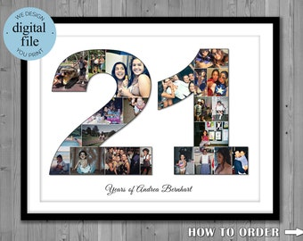 21st Birthday Gift Photo Collage For Her Him Present21