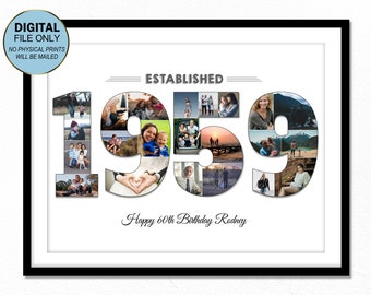 60 Sixty Birthday Photo Gift 60th Collage Ideas 1959