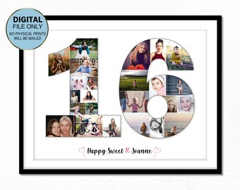 16 Sixteen Birthday Gift Photo Collage 16th For Her Daughter Ideas Number
