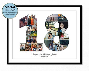 18 Eighteen Birthday Gift 18th For Him Her Ideas Number Photo Collage