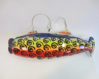 Fabulous Funky Fish Ornament Polymer Clay Sculpture