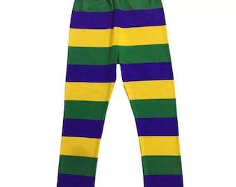 Mardi Gras Leggings Toddler 2T 3T Stripe Purple Green Yellow Soft Knit