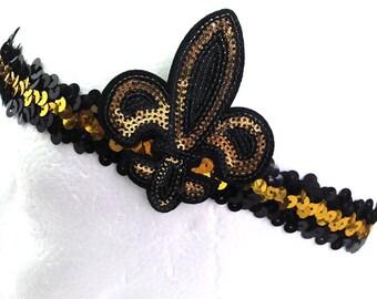 Black Gold Sequin Fleur De Lis Headband Saints! NEW ORLEANS 541f7baac58