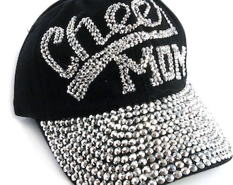 3dc1ec56fddb9 Black Denim CHEER MOM Baseball cap with silver crystals spelling out Cheer  Mom Adjustable Back with hinge