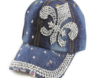 26bfaf00915 Fleur  de Lis Denim Basebasll cap. Silver Crystls Fleur  de Lis and around  edge of bill and scattered across Blue Denim hat