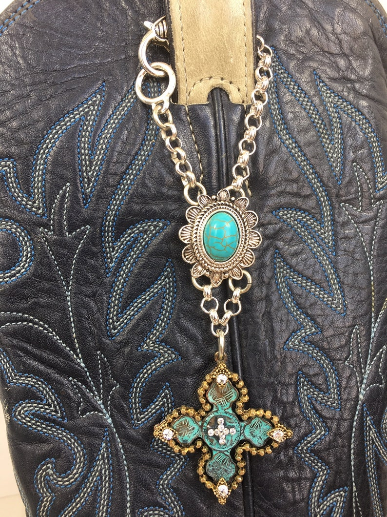 2-TONE gold /& silver Metal Chain Lobster Clasp 2Pc Cross Boot Loop Jewelry Line Dancing,Rodeos Oval Turquoise dyed stone Pull Up Strap